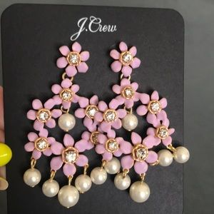 Jcrew Pearl and Crystal Floral Chandelier Earrings